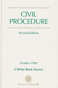 Cover of Civil Procedure 2nd ed: October 1999 - A White Book Service
