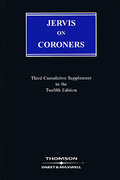Cover of Jervis on Coroners 12th ed: 3rd Supplement