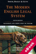 Cover of Smith, Bailey and Gunn on the Modern English Legal System (eBook)