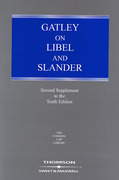 Cover of Gatley On Libel and Slander 10th ed: 2nd Supplement