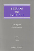 Cover of Phipson on Evidence 17th ed: 1st Supplement