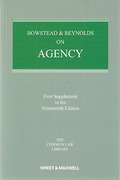 Cover of Bowstead & Reynolds On Agency 19th ed: 1st Supplement