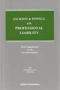 Cover of Jackson & Powell on Professional Liability 7th ed: 1st Supplement