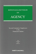 Cover of Bowstead & Reynolds On Agency 19th ed: 2nd Supplement