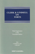Cover of Clerk & Lindsell On Torts 20th ed: 3rd Supplement
