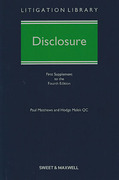 Cover of Disclosure 4th ed: 1st Supplement