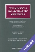 Cover of Wilkinson's Road Traffic Offences 26th ed: 2nd Supplement (Book & eBook Pack)