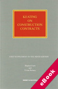 Cover of Keating on Construction Contracts 9th ed: 2nd Supplement (eBook)