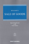 Cover of Benjamin's Sale of Goods 9th ed: Special Supplement
