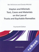 Cover of Hayton and Mitchell: Text, Cases and Materials on the Law of Trusts and Equitable Remedies (Book & eBook Pack)