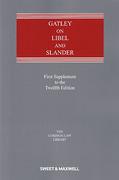Cover of Gatley on Libel and Slander 12th ed: 1st Supplement