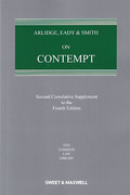 Cover of Arlidge, Eady and Smith on Contempt 4th ed: 2nd Supplement