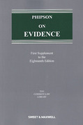 Cover of Phipson on Evidence 18th ed: 1st Supplement