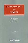 Cover of Clerk & Lindsell On Torts 21st ed: 1st Supplement