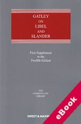 Cover of Gatley on Libel and Slander 12th ed: 1st Supplement (eBook)