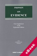 Cover of Phipson on Evidence 18th ed: 1st Supplement (eBook)