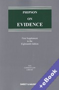 Cover of Phipson on Evidence 18th ed: 1st Supplement (Book & eBook Pack)