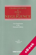 Cover of Charlesworth & Percy on Negligence 13th ed: 1st Supplement (eBook)