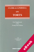 Cover of Clerk & Lindsell On Torts 21st ed: 1st Supplement (eBook)