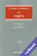 Cover of Clerk & Lindsell On Torts 21st ed: 1st Supplement (Book & eBook Pack)