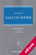 Cover of Benjamin's Sale of Goods 9th ed: Special Supplement (eBook)