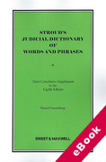 Cover of Stroud's Judicial Dictionary of Words and Phrases 8th ed: 3rd Supplement (eBook)