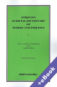 Cover of Stroud's Judicial Dictionary of Words and Phrases 8th ed: 3rd Supplement (Book & eBook Pack)