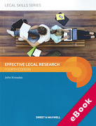 Cover of Effective Legal Research (eBook)
