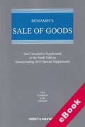 Cover of Benjamin's Sale of Goods 9th ed: 2nd Supplement (eBook)