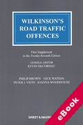 Cover of Wilkinson's Road Traffic Offences 27th ed: 1st Supplement (eBook)