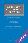 Cover of Wilkinson's Road Traffic Offences 27th ed: 2nd Supplement (Book & eBook Pack)