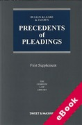 Cover of Bullen & Leake & Jacob's Precedents of Pleadings 18th ed: 1st Supplement (eBook)