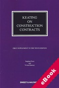 Cover of Keating on Construction Contracts 10th ed: 1st Supplement (eBook)