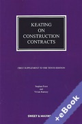 Cover of Keating on Construction Contracts 10th ed: 1st Supplement (Book & eBook Pack)