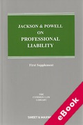 Cover of Jackson & Powell on Professional Liability 8th edition: 1st Supplement (eBook)