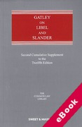 Cover of Gatley on Libel and Slander 12th ed: 2nd Supplement (eBook)