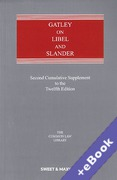Cover of Gatley on Libel and Slander 12th ed: 2nd Supplement (Book & eBook Pack)