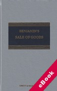 Cover of Benjamin's Sale of Goods 10th ed with 1st Supplement (eBook)