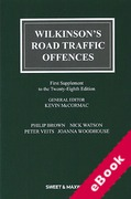 Cover of Wilkinson's Road Traffic Offences 28th ed: 1st Supplement (eBook)