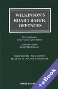 Cover of Wilkinson's Road Traffic Offences 28th ed: 1st Supplement (Book & eBook Pack)