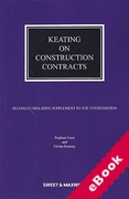 Cover of Keating on Construction Contracts 10th ed: 2nd Supplement (eBook)
