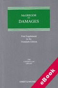 Cover of McGregor on Damages 20th ed: 1st Supplement (eBook)