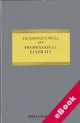 Cover of Jackson & Powell on Professional Liability 8th ed with 2nd Supplement (eBook)