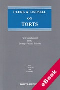 Cover of Clerk & Lindsell On Torts 22nd ed: 1st Supplement (eBook)
