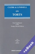 Cover of Clerk & Lindsell On Torts 22nd ed: 1st Supplement (Book & eBook Pack)