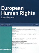 Cover of European Human Rights Law Review: Issues and Bound Volume