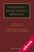 Cover of Wilkinson's Road Traffic Offences 29ed with 1st Supplement (eBook)