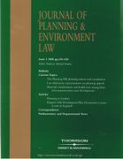 Cover of Journal of Planning and Environment Law: Issues Only