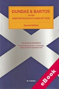 Cover of Dundas & Bartos on the Arbitration (Scotland) Act 2010 (eBook)