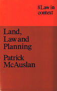 Cover of Law in Context: Land, Law and Planning
